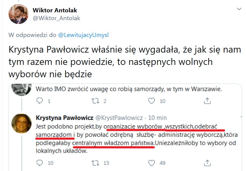 Wpis na Twitterze Wiktora Antolaka