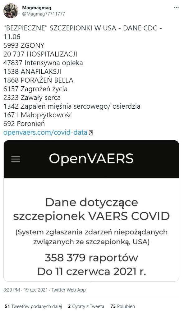 Tweet z 19 czerwca przedstawiający dane mające pochodzić z bazy VAERS.