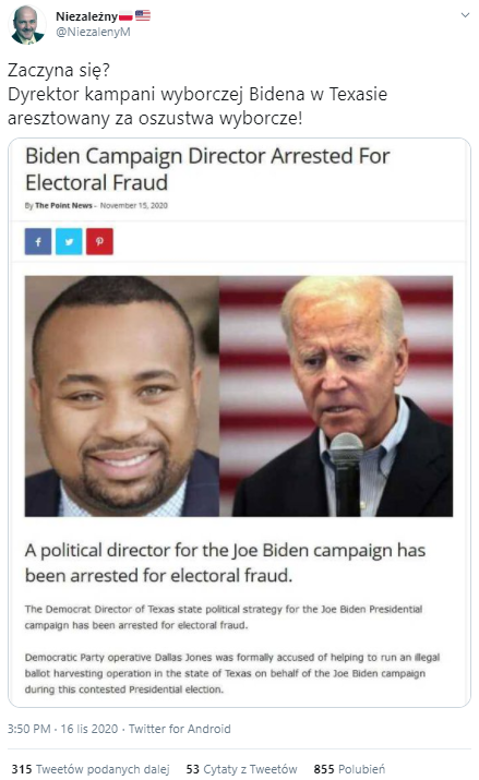Wpis z fałszywą informacją o aresztowaniu współpracownika Joe Bidena