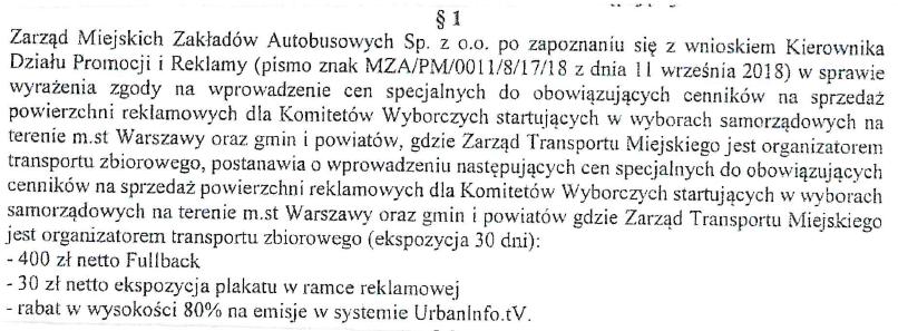 Fragment uchwały MZA w sprawie rabatów