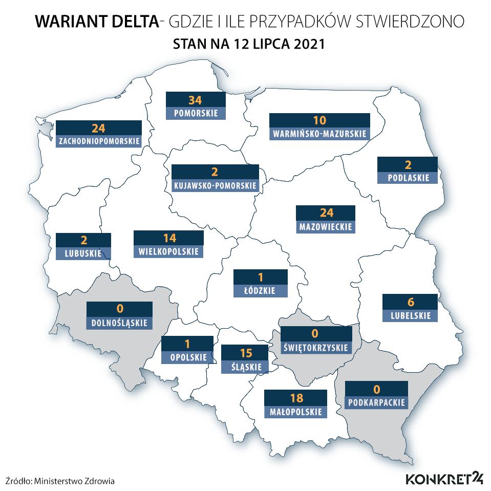 Wariant Delta - gdzie i ile przypadków stwierdzono  (stan na 12 lipca 2021)