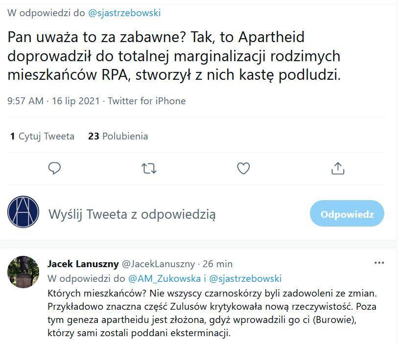 Komentarz Anny Marii Żukowskiej na Twitterze
