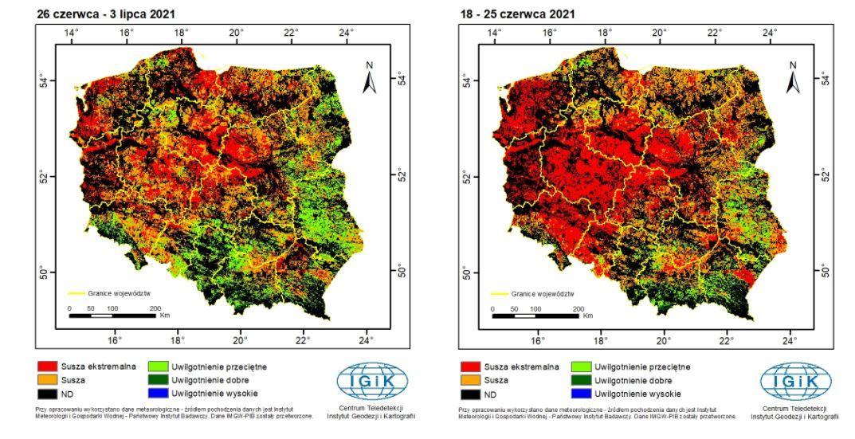Susza w Polsce - dane satelitarne Instytutu Geodezji i Kartografii