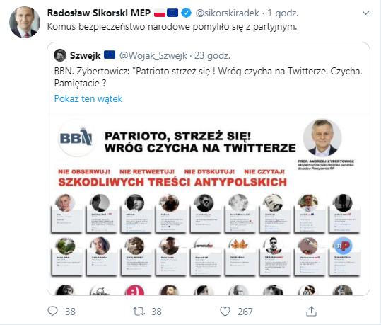 Usunięty wpis Radosława Sikorskiego