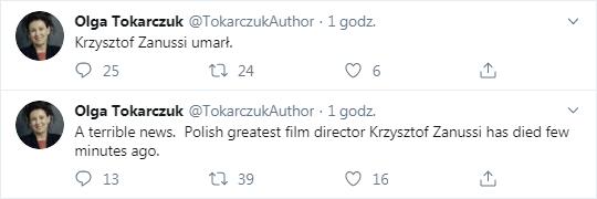 Wpisy z fałszywego konta Olgi Tokarczuk