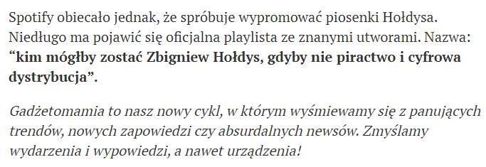 Adnotacja kończąca artykuł o Zbigniewie Hołdysie