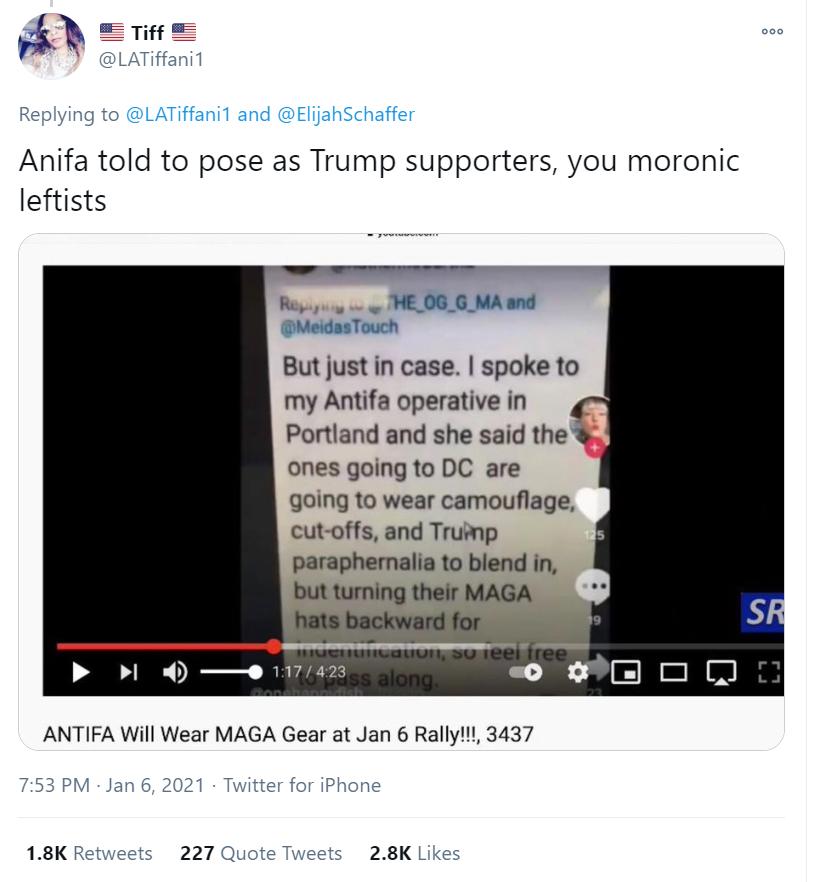 """Post o treści: """"Antifa kazała upodobnić się do zwolenników Trumpa"""""""