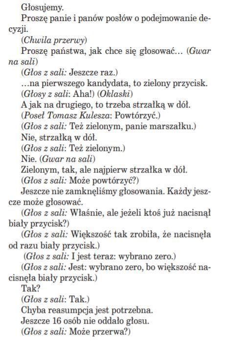 Fragment stenogramu z posiedzenia Sejmu 9 kwietnia 2015 roku