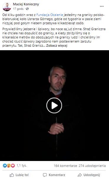 Wpis Macieja Koniecznego na Facebooku