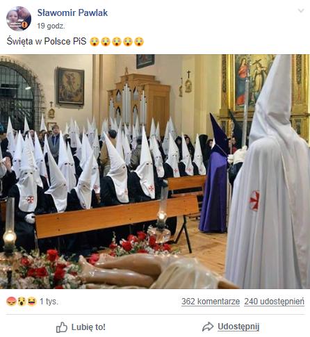 """Święta w Polsce PiS"" - wpis na Facebooku"