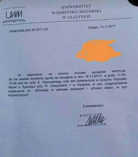 Odpowiedź władz UWM na list studentów