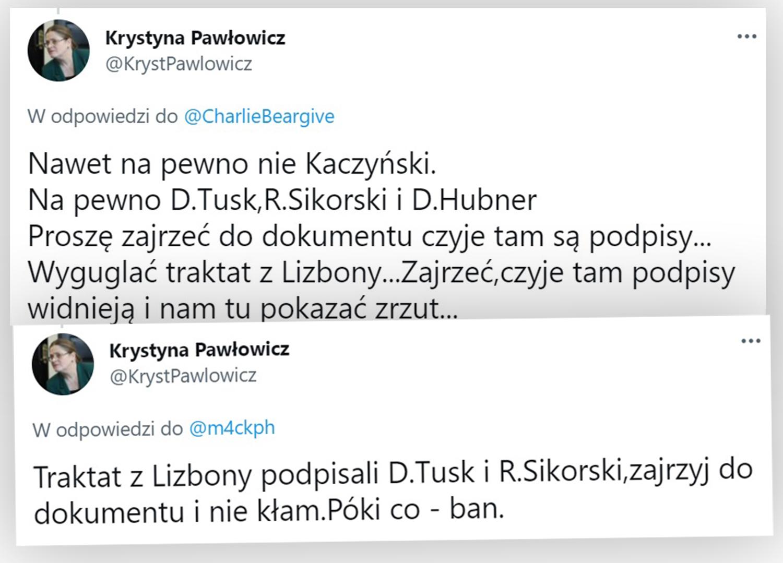 Tweety Krystyny Pawłowicz w internetowej dyskusji