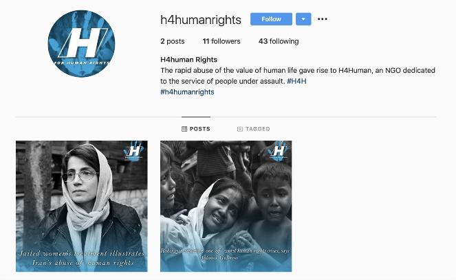 Konto fikcyjnej organizacji H4human Rights na Instagramie