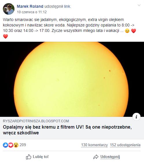 Wpis na Facebooku z linkiem do artykułu o kremach z filtrem