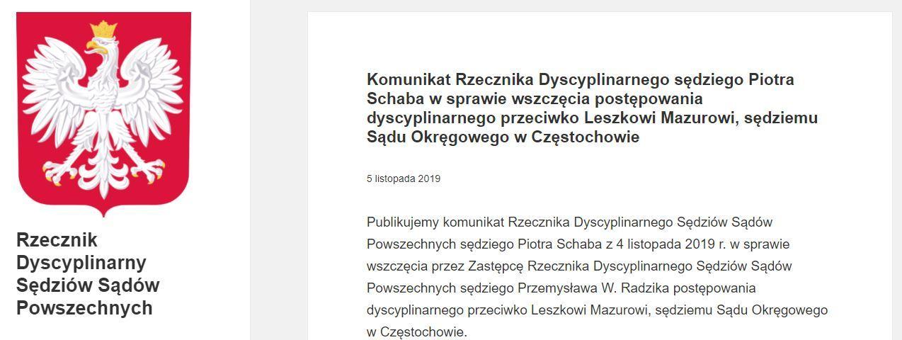 Fragment komunikatu dot. wszczęcia postępowania dyscyplinarnego wobec sędziego Leszka Mazura na stronie Rzecznika Dyscyplinarnego