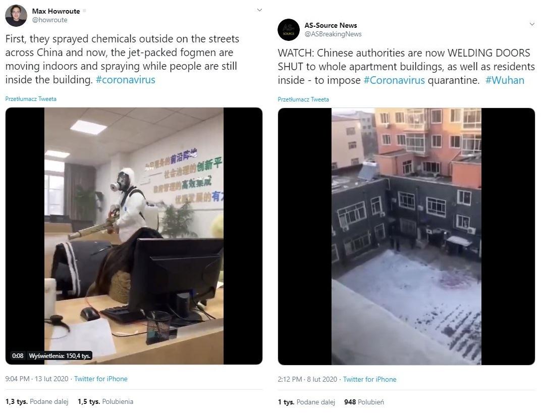 Tweety o rozpylaniu tajemniczych substancji i spawaniu drzwi do budynków