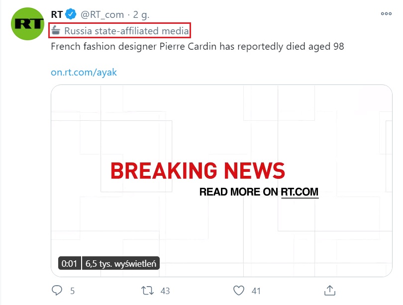 Wpis kanału RT (wcześniej Russia Today) oznaczonego jako medium związane z państwem