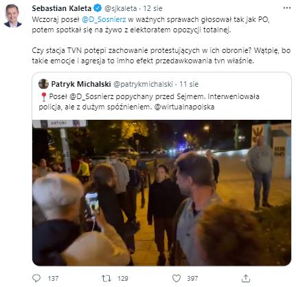 Wpis Sebastiana Kalety na Twitterze