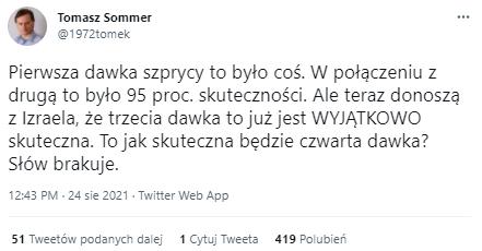 Komentarz Tomasza Sommera na Twitterze