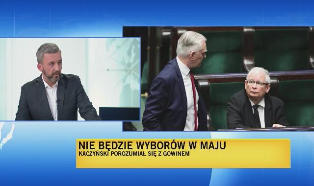 """Reporter """"Faktów"""" TVN o oświadczeniu Kaczyńskiego i Gowina"""